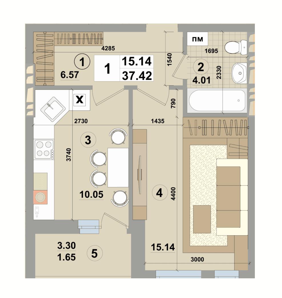 ЖК Форест парк от Зим Кепитал Групп планировка однокомнатной квартиры