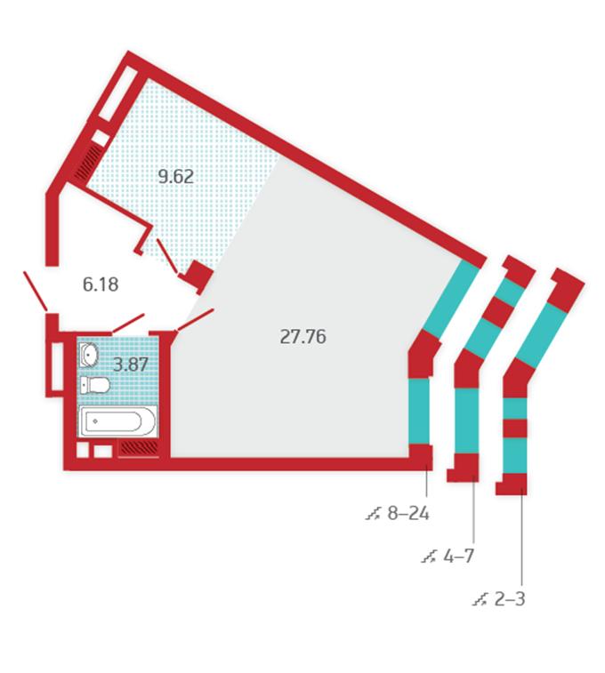ЖК Арх Хаус от Укрбуд планировка однокомнатной квартиры