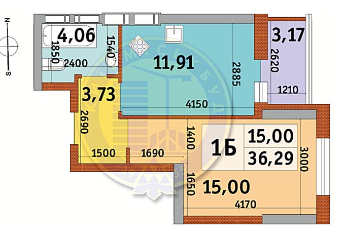 ЖК Абрикосовый 1-комнатная планировка