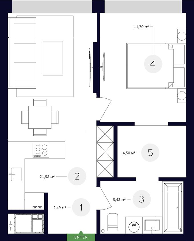 White lines 1-комнатная