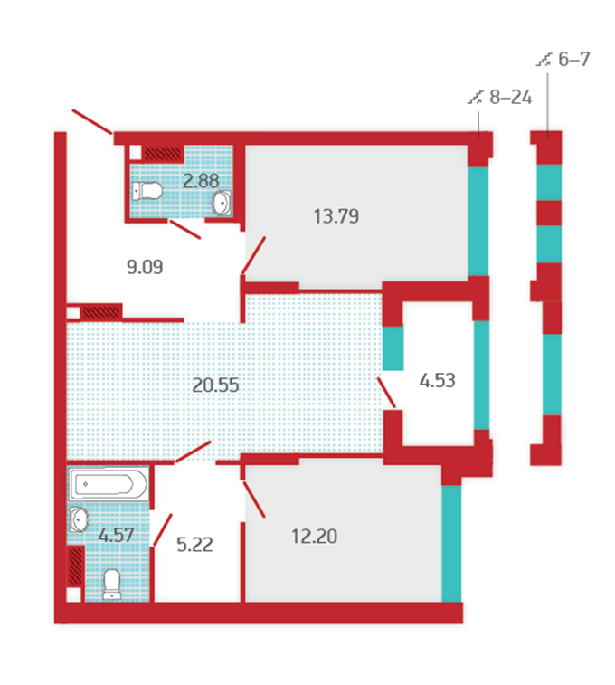 ЖК Арх Хаус от Укрбуд планировка двухкомнатной квартиры