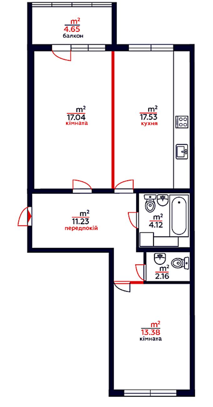 ЖК Привітний квартал Велкам Хоум в Бортничах планировка двухкомнатной квартиры
