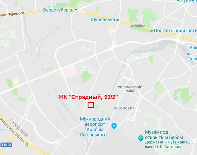 ЖК на Отрадном 93/2 от Киевгорстроя на карте
