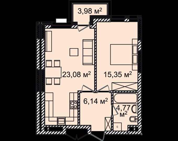 ЖК Монреаль Хаус планировка однокомнатной квартиры