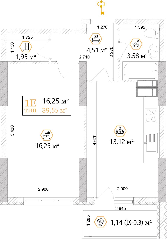 1-ЖК Совские пруды планировка однокомнатной квартиры