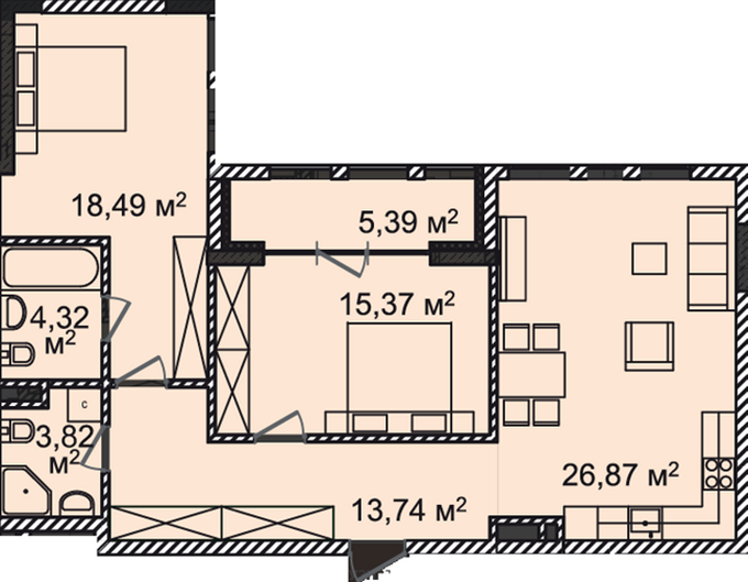 ЖК Монреаль Хаус планировка двухкомнатной квартиры