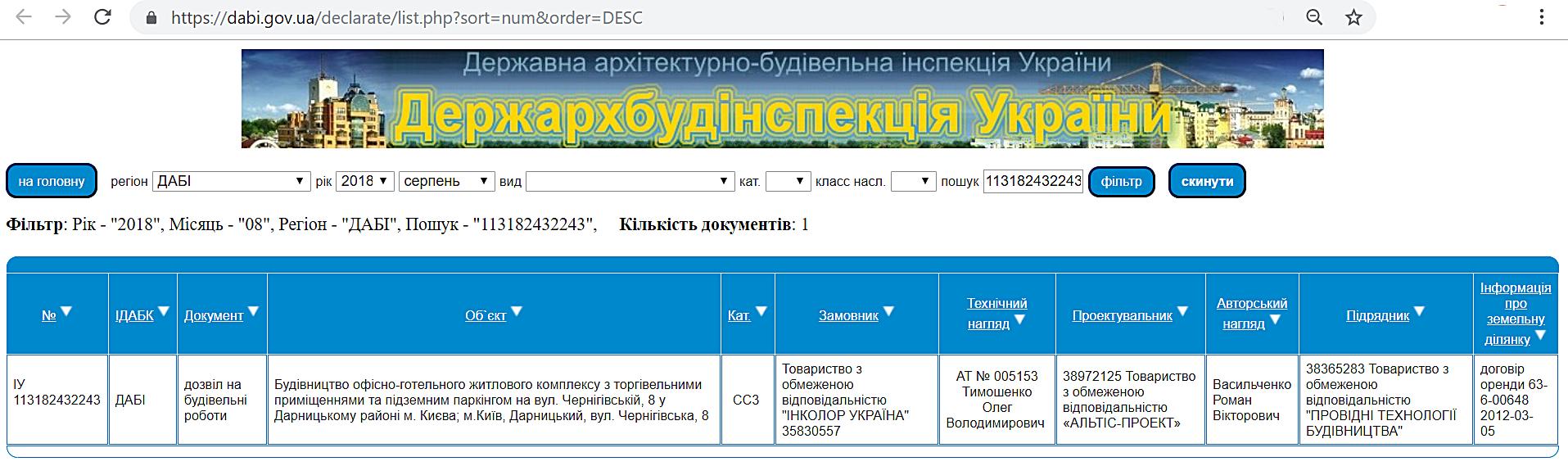 ЖК Терракот Разрешение на строительство в базе данных ДАБИ