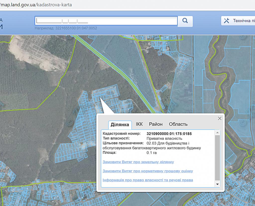 ЖК Грин Сайд в Ирпене кадастровая карта