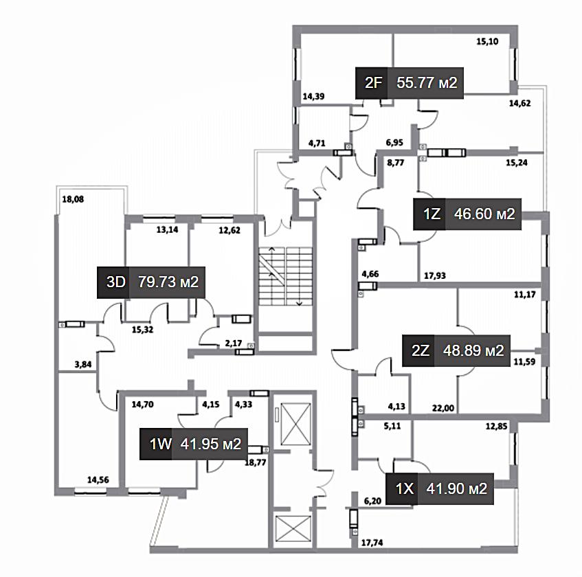 ЖК Грин Сайд в Ирпене поэтажный план дома четвертой секции