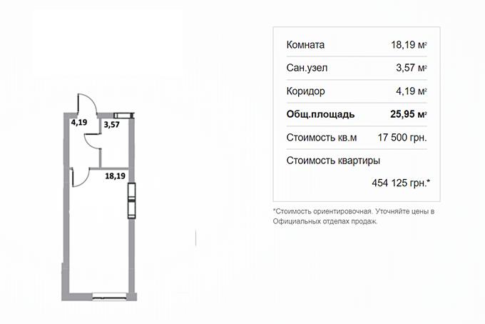 ЖК Грин Сайд в Ирпене планировка однокомнатной квартиры студии