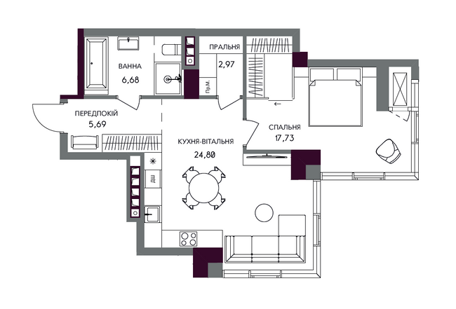 ЖК А136 Хайлайт Хаус планировка однокомнатной квартиры