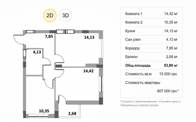 ЖК Грин Сайд в Ирпене планировка двухкомнатной квартиры