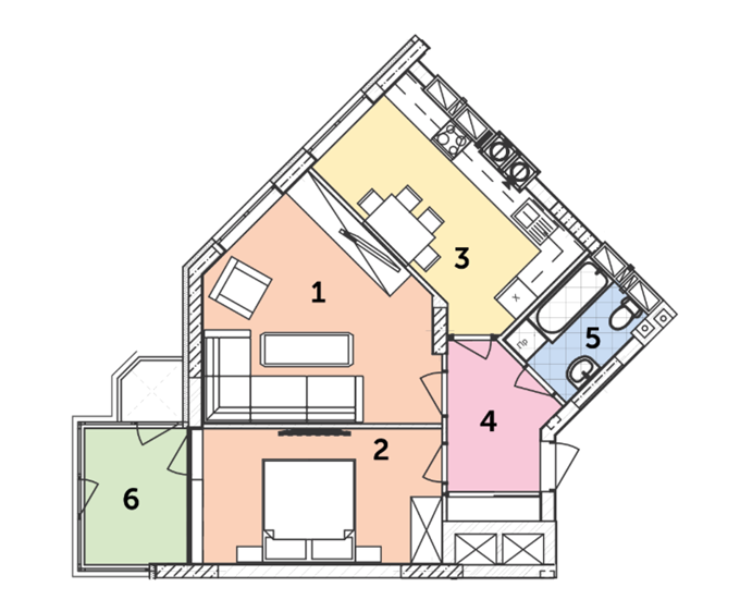 ЖК на Прорезной от Комфорт Лайф планировка двухкомнатной квартиры