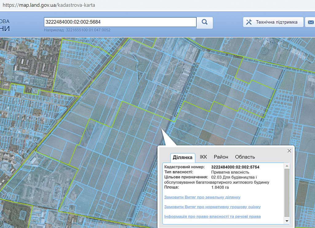 ЖК Новые Жуляны в Крюковщине назначение земли в кадастровой карте