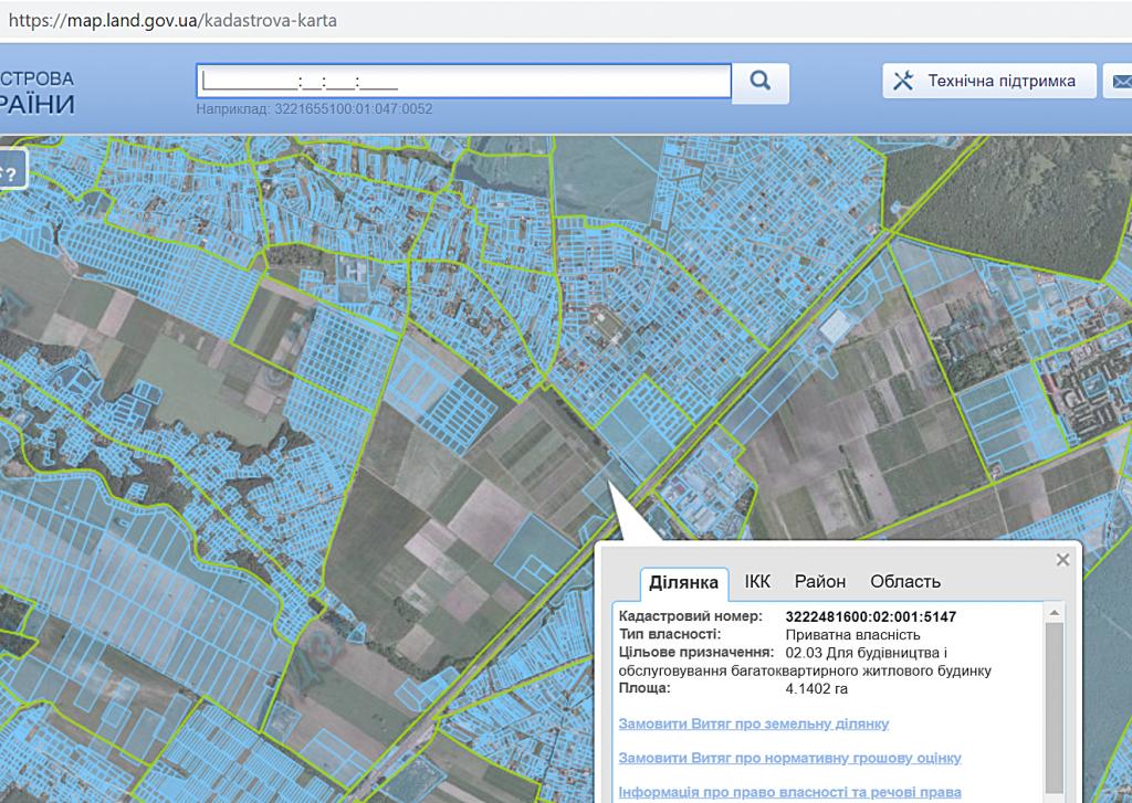 ЖК Оптимісто в Гатном кадастровая карта