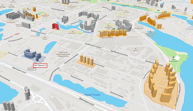 ЖК Восьмой Причал от Интергал Буд на карте