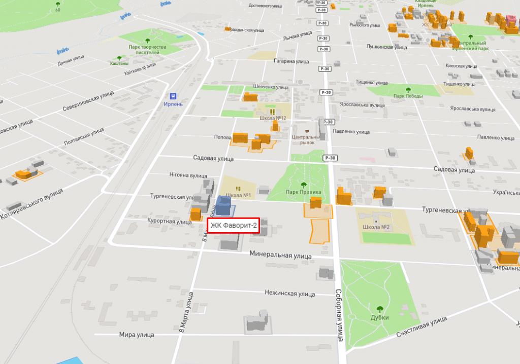 ЖК Фаворит 2 в Ирпене на карте