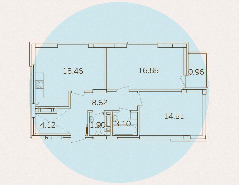 ЖК Варшавский микрорайон от Столица Групп планировка квартиры с двумя спальнями