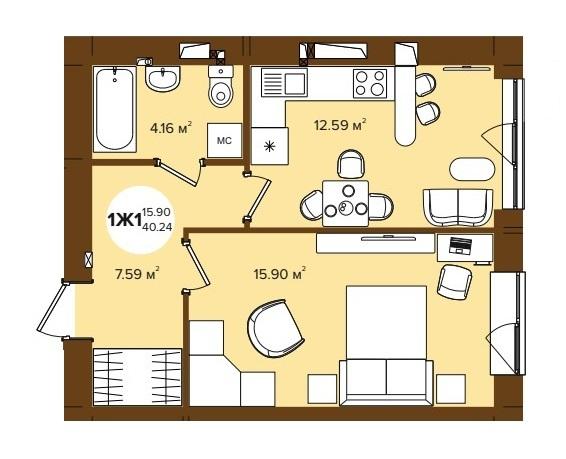 ЖК Фаворит 2 в Ирпене планировка однокомнатной квартиры