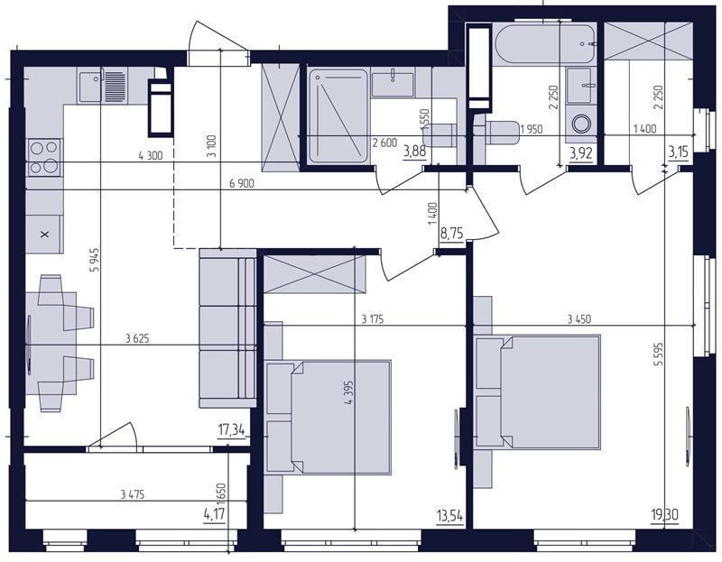 ЖК Современный квартал планировка двухкомнатной квартиры