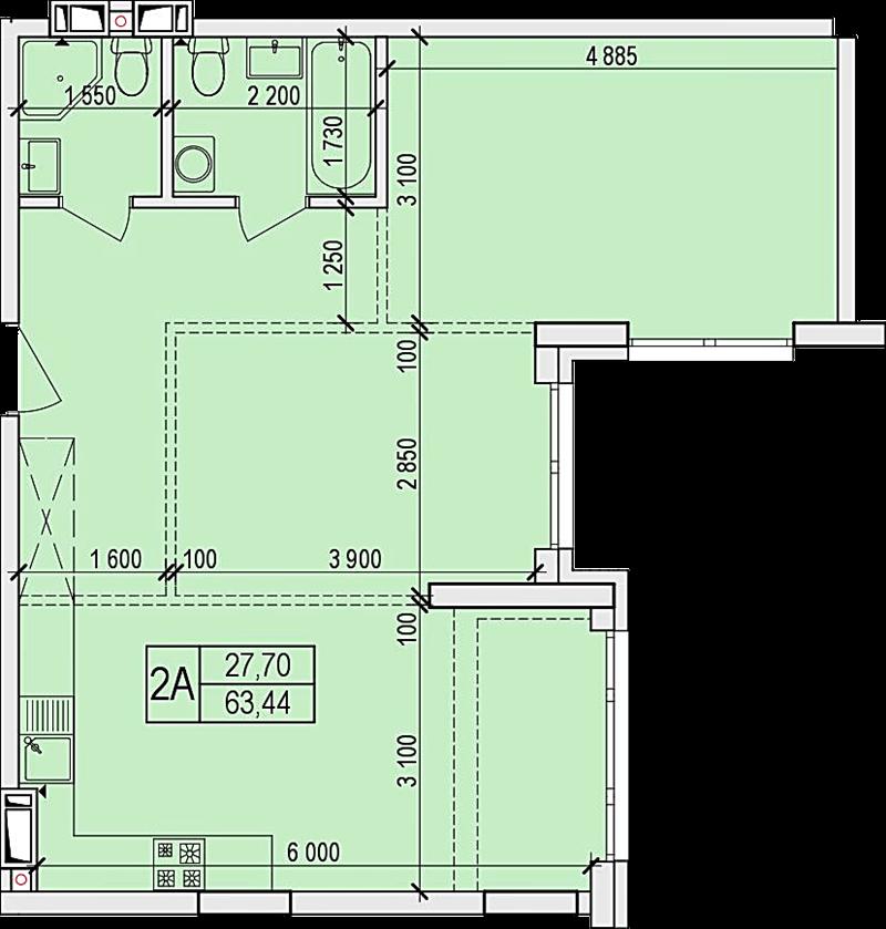 ЖК Новые Жуляны в Крюковщине планировка двух- трехкомнатной квартиры
