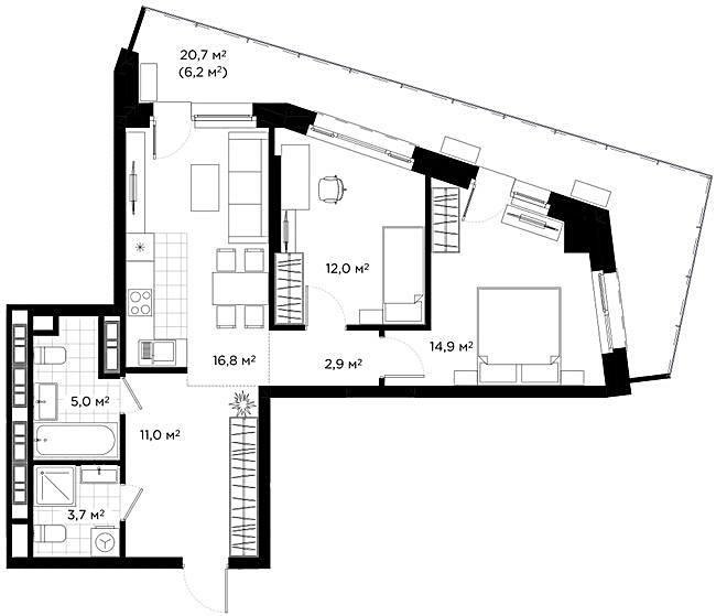 ЖК Диаданс планировка квартиры с террасой