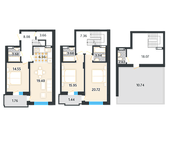 ЖК Ламанш планировка квартиры с террасой