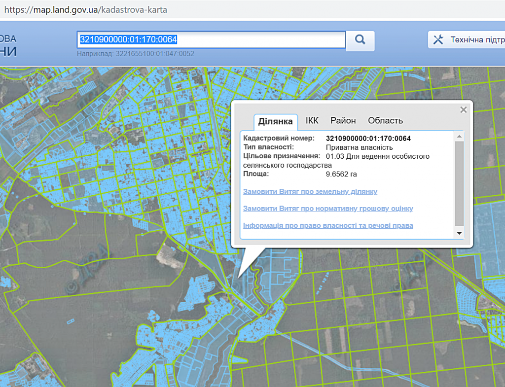 ЖК Олим в Ирпене данные кадастровой карты