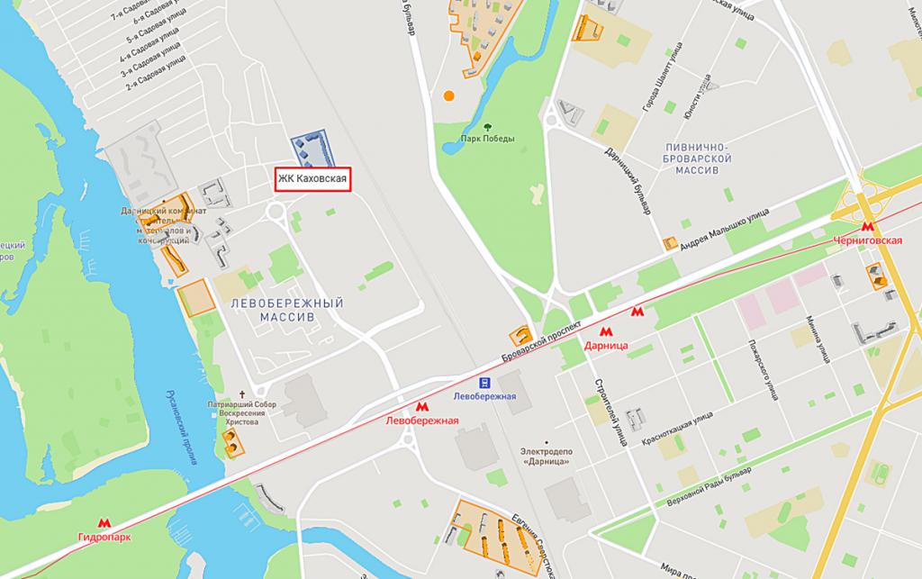 ЖК Каховская 60 от киевгорстроя на карте