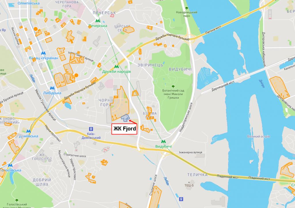 ЖК Фьйорд от ЕНСО расположение на карте