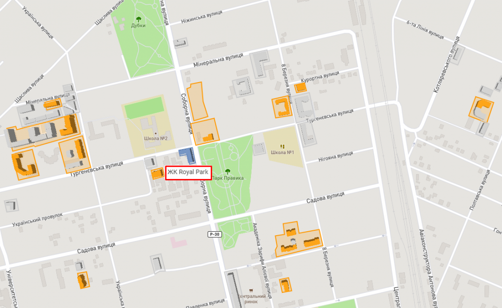 ЖК Роял парк в Ирпене на карте