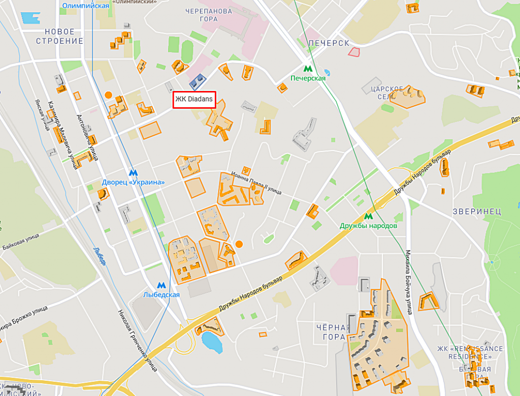 ЖК Диаданс от ЕНСО на карте