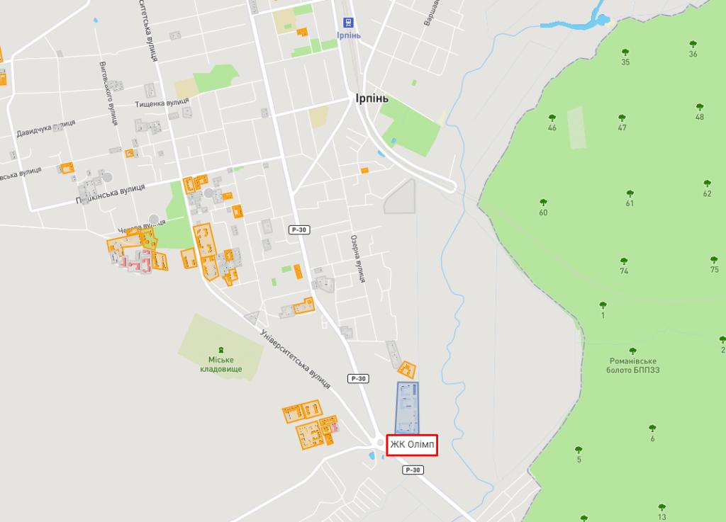 ЖК Олим в Ирпене раположение на карте