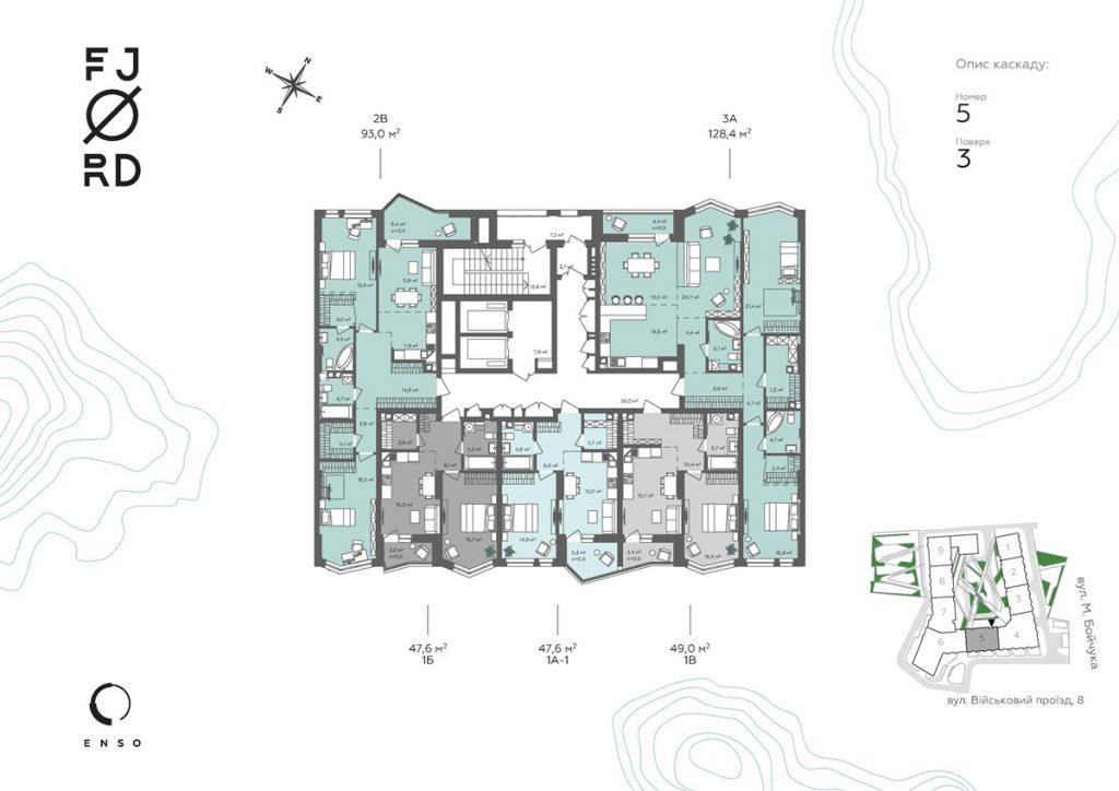 ЖК Фьйорд от ЕНСО поэтажный план пятой секции