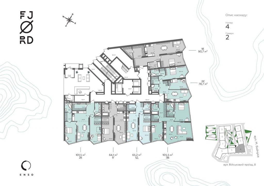 ЖК Фьйорд от ЕНСО поэтажный план четвертой секции