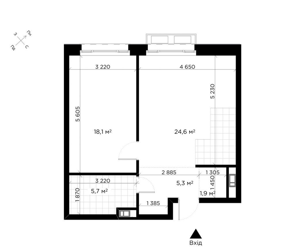 ЖК Диаданс от ЕНСО стандартная планировка однокомнатной квартиры