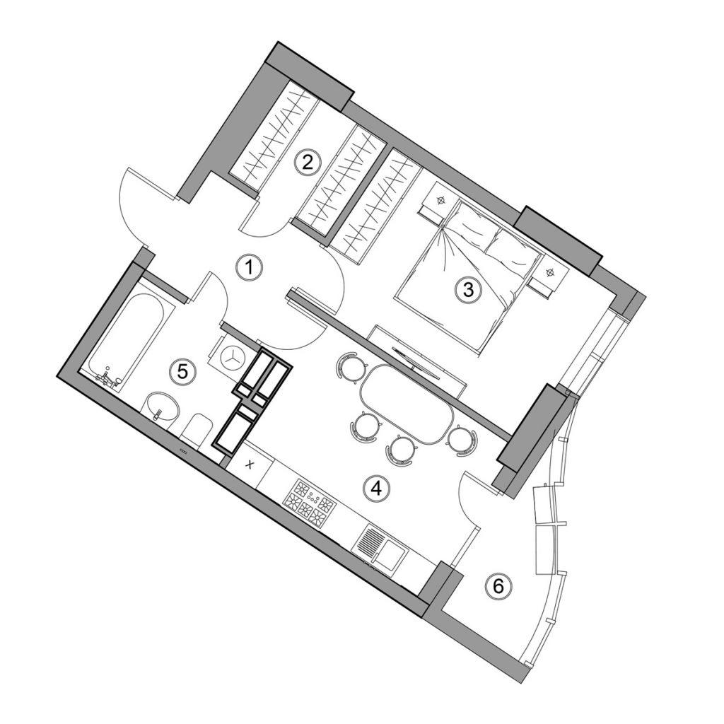 ЖК Ария от ГЕОС обычная планировка однокомнатной квартиры