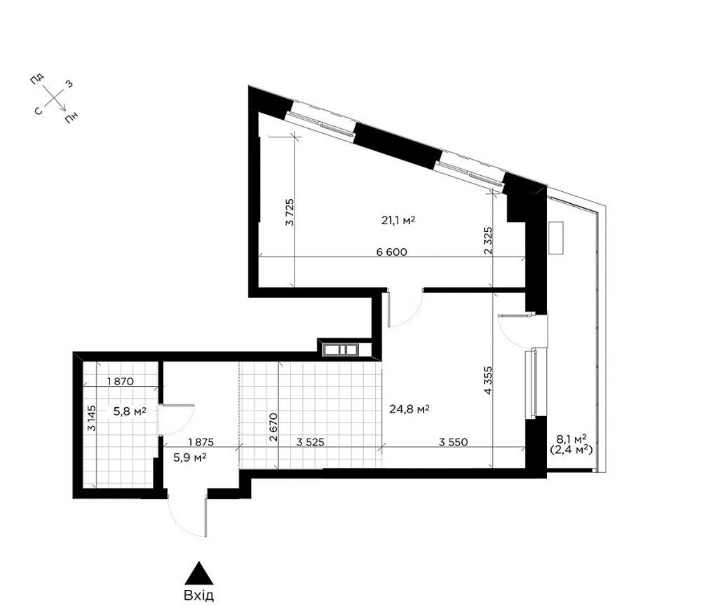 ЖК Диаданс от ЕНСО планировка однокомнатной квартиры
