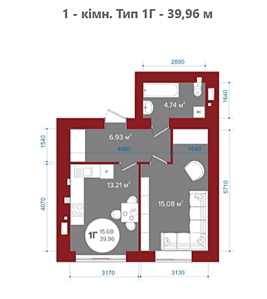 ЖК Олим в Ирпене планировка однокомнатной квартиры