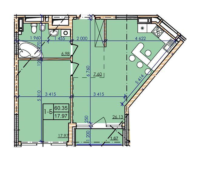 ЖК Гринвилль на Печерске планировка однокомнатной квартиры