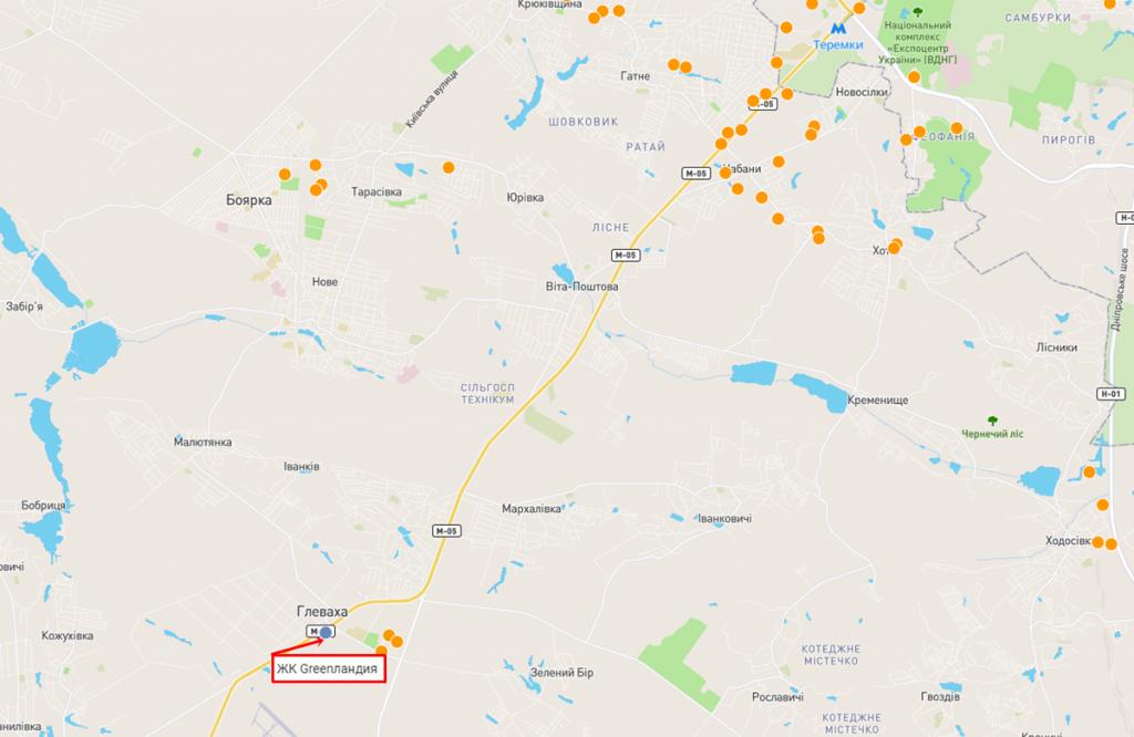ЖК Гринландия в Глевахе на карте