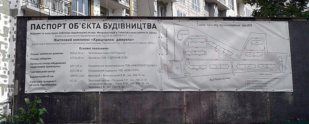 ЖК Кришталеві джерела строительный паспорт четвертой очереди