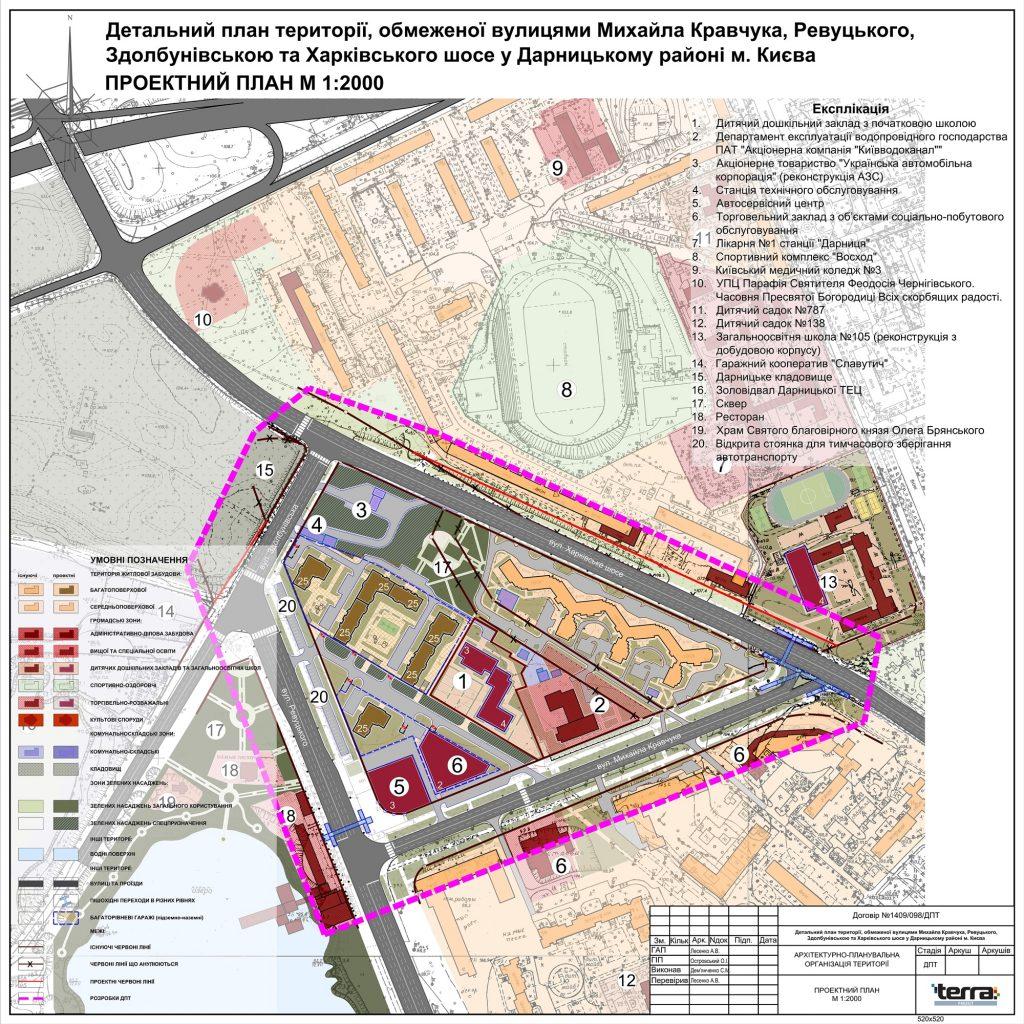 Детальный план территорий новая Дарница проектный план