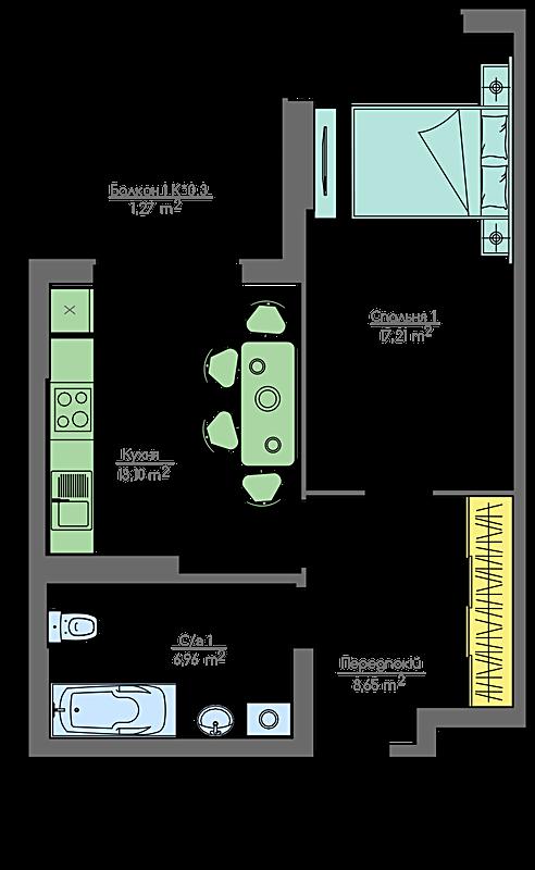 ЖК Хоум энд парк комфорт хаус 1-комнатная