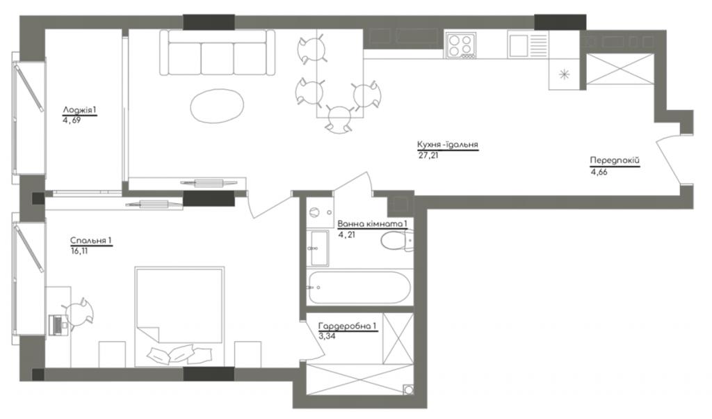 ЖК Вашингтон Концепт Хаус планировка однокомнатной квартиры