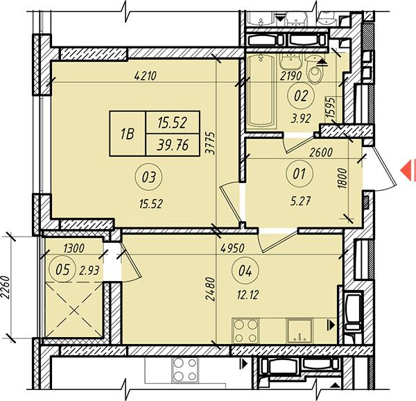 ЖК Лукьянский планировкова однокомнатной квартиры