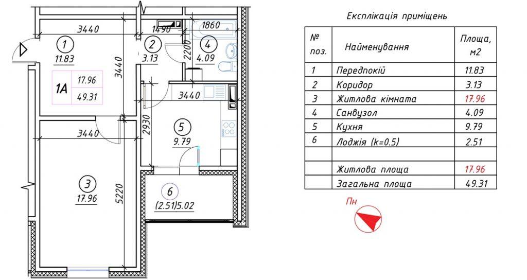 ЖК Ревуцкий от ДБК Житлобуд планировка однокомнатной квартиры