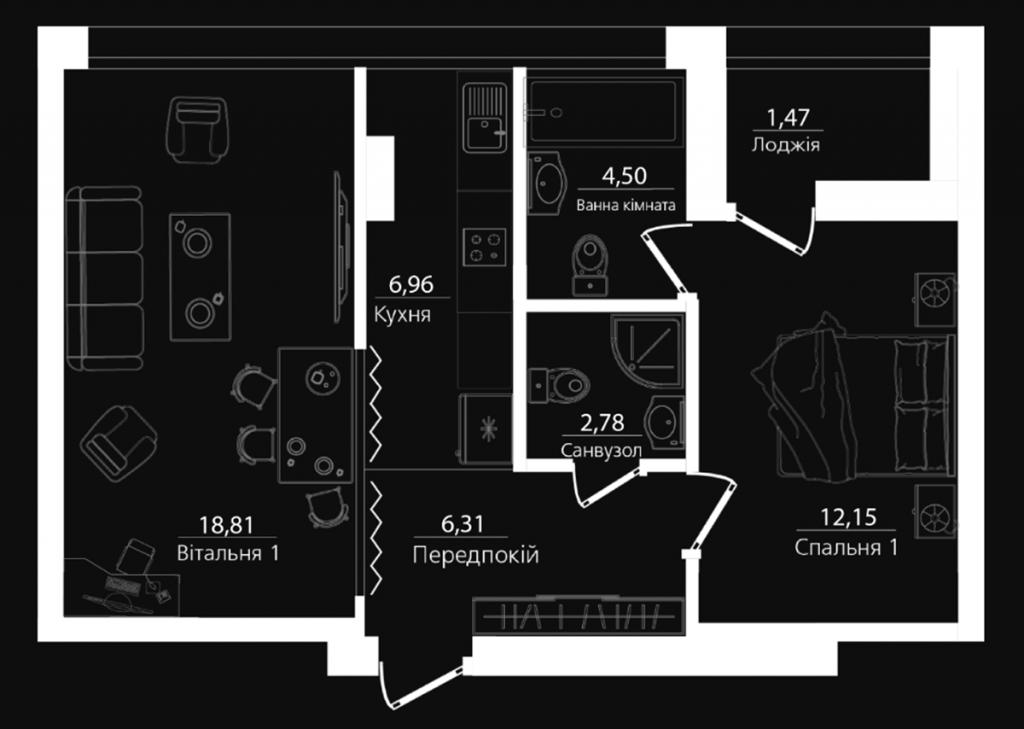 ЖК Филадельфия концепт хаус 2-комнатная планировка