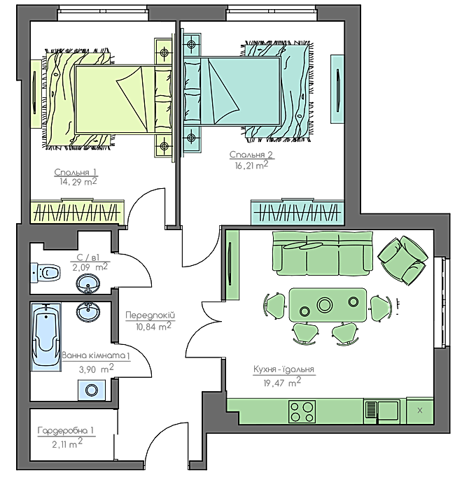ЖК Хоум энд парк комфорт хаус 2-комнатная