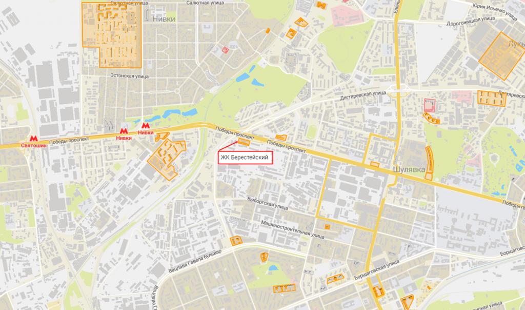 Новостройки с задежкой сроков сдачи ЖК Берестейский на карте